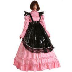 French-Style-PVC-Sissy-Maid-Lockable-Long-Dress-Costume-Mistress-Crossdress