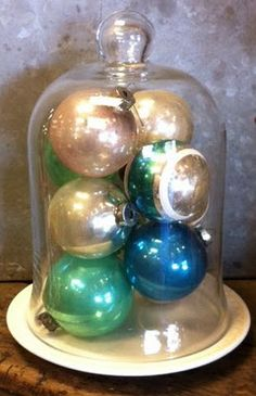 I love to decorate with vintage glass balls, very festive