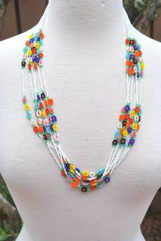 Vintage White Multicolor bugle bead seed bead hand made beaded necklace Hippie Boho Chic GroovyBugle Seed Bead Fringe Native American Necklace measures 9 long and fits up to 14 neck. fragile and hand beaded necklace and should be handled very careful Seed Bead Necklace, Seed Bead Bracelets, Seed Bead Jewelry, Bead Jewellery, Beaded Earrings, Seed Beads, Pearl Necklace, Necklace Price, Pearl Beads