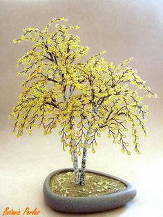 Arbre en perles Bouleaux jaunes - couleur automne : Accessoires de maison par botanic-perles