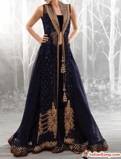 Sharara suits and long gowns by asifa and nabeel pakistan. Perfect indian formal sharara, brides dresses and evening dresses by asifa and nabeel bridal stores in uk, usa Pakistani Couture, Pakistani Outfits, Indian Outfits, Looks Style, Gown Party Wear, Middle Eastern Fashion, Muslim Dress, Desi Clothes, Party Wear
