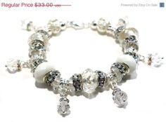 Ice Crystal Bracelet with European Large Hole by BrankletsNBling, $26.40