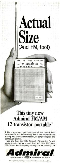 Admiral transistor radio advert 1967