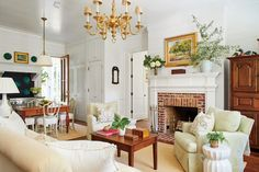 Interior view of new Southern Living 800 sq ft cottage- charming and spacious living area!