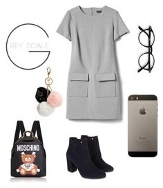 """""""Grey"""" by mgragazzini ❤ liked on Polyvore featuring Banana Republic, Monsoon, GUESS, Moschino, iphone, grey and 50shades"""