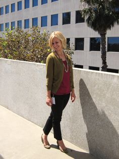 Fall Business Casual: Burgandy, Olive + Leopard
