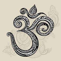 glück symbol: OM-Symbol Aum, ohm. Hand gezeichnet detaillierten Vektor-Illustration.