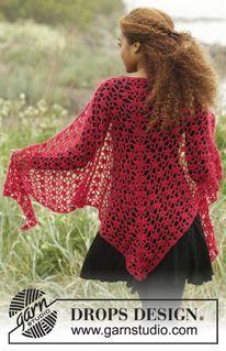 """Carmen - Gehaakte DROPS omslagdoek met kantpatroon, wordt van boven naar beneden gehaakt van """"Brushed Alpaca Silk"""". - Free pattern by DROPS Design"""