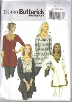 Women's Tunic Pattern Butterick B5390. $7.00, via Etsy.