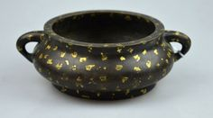 Chinese Bronze & Gold Splashed 2 Handled Censer : Lot 154