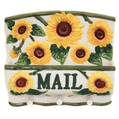 Country Sunflower Collection Wall Hanging Mailbox & Key Holder $35.95