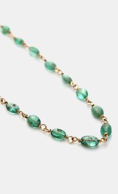 14 K Emerald Bead Necklace