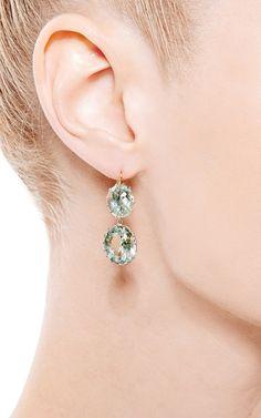 One of a Kind Green Amethyst Earrings by Renee Lewis for Preorder on Moda Operandi