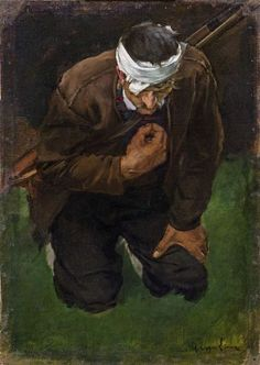 Albin Egger-Lienz (Austrian, Kneeling Farmer, study for Ave Maria after the Battle of Bergisel, Oil on canvas on card. Romanticism, 18th Century, Oil On Canvas, Image, Austria, Imagination, Anxiety, Dan, Study