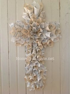 Vintage Hymnal Cross ... made using the same technique as the hymnal wreath