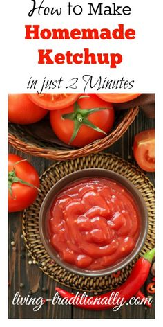 How to Make Homemade Ketchup in Just 2 Minutes Ingredients 1 cup organic tomato paste 1 tbsp raw organic honey (here) 1 tbsp raw unfiltered apple cider vinegar tsp mustard tsp sea salt cup water Paleo Sauces, Paleo Recipes, Real Food Recipes, Drink Recipes, Homemade Ketchup, Homemade Spices, Paleo Ketchup, No Sodium Foods, Low Sodium Recipes