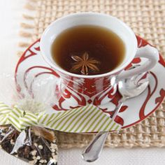 <3  Holiday Tea -- Perfect for gift-giving, too. Recipe: 2 tablespoons dried orange rind, 1 tablespoon dried ginger, 24 whole cloves, 2 to 4 whole star anise pods, 1/2 cup loose-leaf black tea, such as Bigelow English Breakfast. In a large bowl, combine the orange rind, ginger, cloves, stara nise, and tea leaves. Stir well to combine. Place in a decorative bag for gift giving, if desired. If dividing the mixture for several gifts, add a star anise pod to each cup.