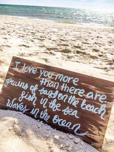 Romantic Beach Quote Sign- I Love You More Sign- Beach Wall Art- Beach House Decor- Hand-painted Gift for Beach Lover - Trend Destructive Quotes 2019 Moving On Quotes, Now Quotes, Sign Quotes, Love You More Than, Just For You, Love You More Quotes, Ocean Quotes, Beach Love Quotes, Quotes About The Beach