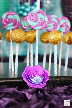 | Trend Alert: Ever After High (Madeline Hatter Tea Party) | http://soiree-eventdesign.com - Fondant glittered lollipops from Edible Details ( www.edibledetails.com)