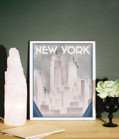 New York Print Art Deco Style, New York Poster, Art Deco Vintage ...