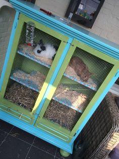 Konijnenkast konijnenhok zelf gemaakt en gepimpt van een oude tv-kast! Super leuk te maken!