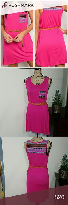 SLEEVELESS TRIBAL TUNIC DRESS WITH SLIM BELT Great addition to your spring/ summer wardrobe! Would look cute with a pair of sandals and handbag... Fabric Content: SELF: 95% RAYON 5% SPANDEX CONTRAST: 95% RAYON 5% SPANDEX S, M , L  ***Made in the USA *** Fuschia BOUTIQUE  Dresses