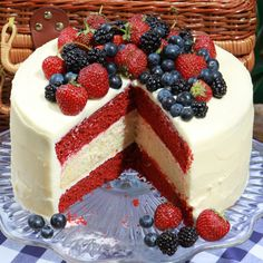 Red and white cake with blueberries for Memorial Day weekend! :)         Glorious Red, White, and Blue Cake Recipe  at Epicurious.com