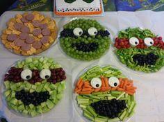 Teenage Mutant Ninja Turtle fruit and veggie plates!