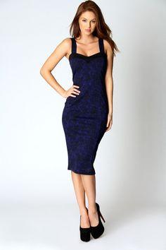 Emma Contrast Strap Midi Dress