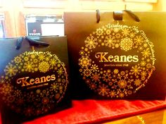 The  edition luxury carrier bags we made for Keanes Jewellers are back! One of our favourite bag designs.  to promote your business! Promote Your Business, Packaging, Jewels, Luxury, Christmas, Bags, Design, Products, Handbags