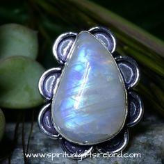 Rainbow Moonstone Moonlight Crystal Gemstone Ring