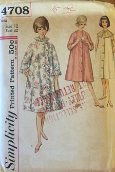 VTG 4708 Simplicity (early 1960 s). Misses  robe. Size 12 704175590