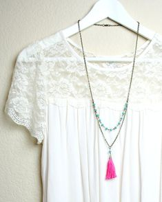 A personal favorite from my Etsy shop https://www.etsy.com/listing/243274656/coral-and-turquoise-tassel-necklace