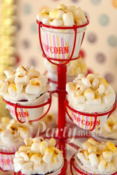 Popcorn cupcakes at a Vintage Circus Party #vintagecircus #partycupcakes