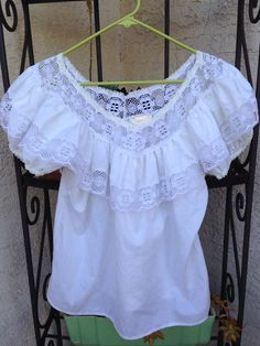 White Traditional Mexican Blouse by ValeriesVintageFinds on Etsy