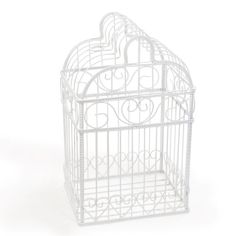"""Give your guests a fun spot to place their wedding well wishes with this splendid Birdcage Card Holder. With its sturdy frame and elegant scrolled heart design, it will be the perfect touch to any wedding gift table! The white metal frame is designed to contain cards and monetary gifts offers. Top lifts off for easy card removal. Details: Size: Measures 10"""" by 8"""" by 16 1/2 inches tall. Materials: Sculpted white metal"""