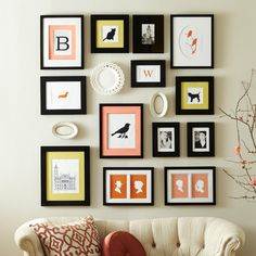 Silhouettes and precious things creates a personal wall display.
