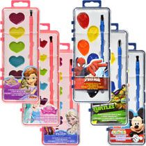Licensed Character 6-Color Watercolor Sets with Brushes