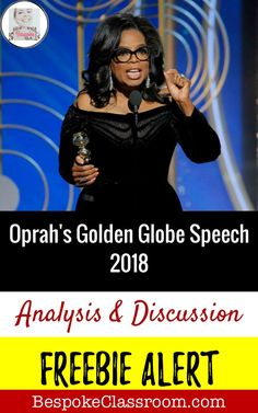 This FREEBIE from Bespoke ELA contains a listening lesson to use with your students. Students will analyze how Oprah creates a persuasive message in her Golden Globe Speech. Secondary ELA.