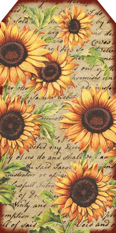 Lilac & Lavender: Sunflowers Sunflower Stamps, K & C Papers, Script Stamp-Edge with Brown Ink Sunflower Cards, Sunflower Gifts, Images Vintage, Vintage Tags, Printable Tags, Printable Paper, Printable Recipe, Free Printables, Decoupage Paper