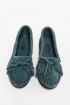 Blue Minnetonka moccasins