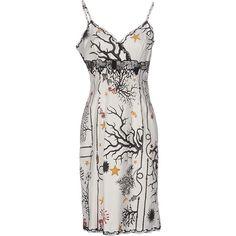 Class Roberto Cavalli Knee-length Dress ($473) ❤ liked on Polyvore featuring dresses, white, white sleeveless dress, white print dress, multi colored dress, stretch lace dress and knee-length dresses