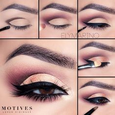 Makeup Tutorials For Brown Eyes Cut Crease Bold Luxe Black Line Soft Arch Brows … - Prom Makeup Looks Brown Eye Makeup Tutorial, Prom Makeup Tutorial, Eye Makeup Steps, Makeup Tips, Beauty Makeup, Eyeshadow Makeup, Eyeliner, Makeup Monolid, Eyeshadow Crease