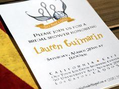 Harry Potter Bridal Shower Invitations + Envelope by DarlingDesignCo on Etsy https://www.etsy.com/listing/225628388/harry-potter-bridal-shower-invitations