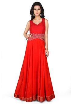 Embroidered Viscose Georgette Gown in Red. Nerissa · Dresses · Nice black  dress. Love fashion Party Wear Evening ... 084534f4c5e4
