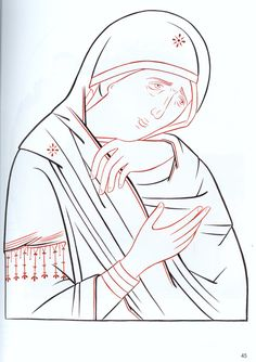 Painting Process, Line Drawing, Outline, Christianity, Sketches, Embroidery, Drawings, Pattern, Anime