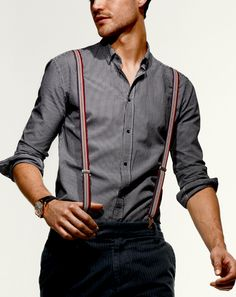 Need outfit ideas to wear with men's suspenders? Look no further! Here is a monster resource page with 32 ideas for men's suspender fashion. How To Wear Suspenders, Suspenders Fashion, Men Suspenders, Leather Suspenders, Gq, Sharp Dressed Man, Well Dressed Men, Moda Formal, Bespoke Clothing