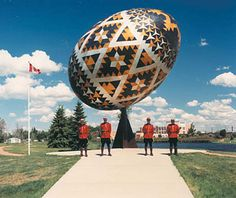 The giant pysanka (decorated Ukrainian Easter egg) in Vegreville, Alberta .. it's mounted on a swivel to allow it to turn in  the wind..