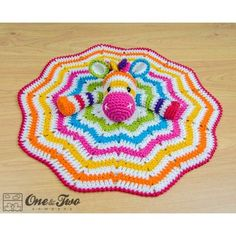 Rainbow Zebra Security Blanket Crochet Pattern by One and Two Company