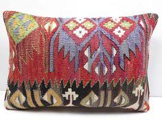 "Turkish Rug Kilim Kelim Lumbar Pillow Cover 20"" X 14"" Kilim Rug Pillow , Pillows #Turkish"